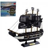 Navio Barco Fragata Pirata Caravala Madeira 20x20cm