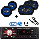 Kit Auto Radio Mp3 Bluetooth + Falante 6 + 6x9 Pol + Antena