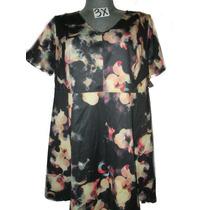 Vestido Casual Negro/beige Estampado Talla 3x P/gordita
