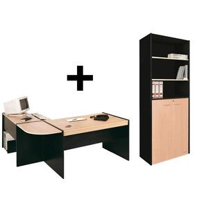 Combo Biblioteca 430+ Escritorio El L Oficina