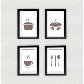 Kit Com 4 Quadros Decorativos Cozinha + Moldura Laqueada