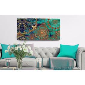 Quadro Decorativo Mandala Azul Turquesa 55x100