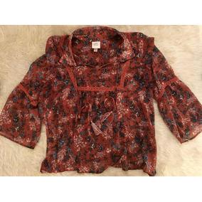 Camisa Camisola Gasa Estampada Mujer Suelta Manga Campana