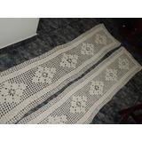 Kit C/2 Passadeiras Croche Em Barbante Cru(tam 2 Mtx 0,48cm)