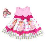 Kit Vestido + Sapatilha Moranguinho Morangos Rosa 1-6 Anos