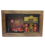 Mini Quadro 3d: Posto De Gasolina Com Carro Vermelho