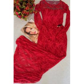 Vestido Longo Vermelho Em Renda Tam M