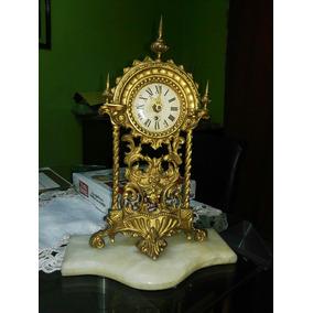 Reloj Antiguo De Cuerda Alemán De Bronce Imperial Marmol