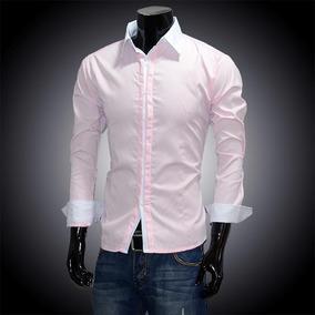 Camisa Slim Fit Elegante Cuello Contrastante Slimfit Shirt