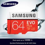 Cartão Sd Samsung Micro Sdxc Evo Plus 64gb 100mb/s Uhs-3