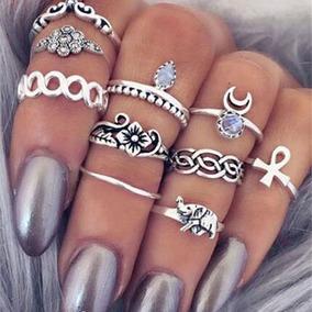 Kit 10 Anel Falange Aneis Tipo Pandora Boho Hippie Manicure