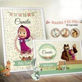 Kit Imprimible Masha Y El Oso Personalizado Cumpleaño Candy1