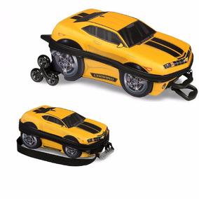 Mochila Escolar 3d Com Lancheira Maxtoy Camaro Amarelo
