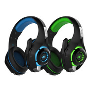 Auricular Gamer Nisuta Nsaug300l Negro / Azul Luz Led Ps4 Pc