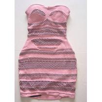 Vestido Rosa Que Caia Lã E Algodão Recortes