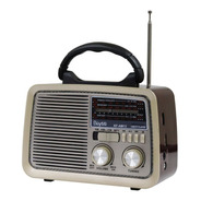 Bocina Portatil Radio Am Fm Usb Tf Aux Vintage Recargable