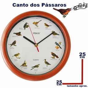 Relogio Com Canto Dos Passarinhos Passaros Redondo26cm,lindo