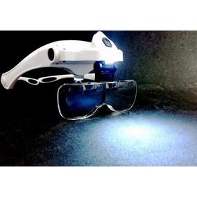 Oculos Lupa De Cabeca Pala 5 Lentes E 2 Led White Branca