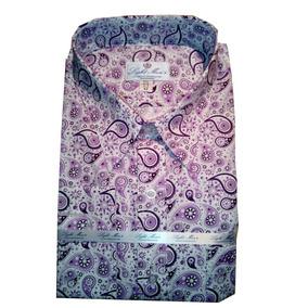 Camisa Blanca Con Figuras Lila Y Violeta Oscuro M/ L