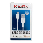 5 Cabos De Dados Carga Kingo Original Type Tipo C 2.1a Nfe