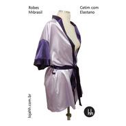 Robe De Cetim Com Elastano Duas Cores Com Mangas Curtas T. G