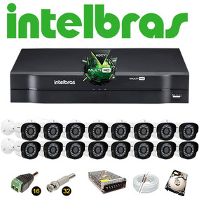 Kit Cftv Dvr 16 Ch Intelbras Mhdx 16 Câmeras Vm 1120 Hd 320g