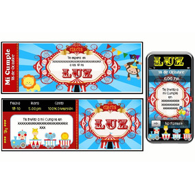 Kit Imprimible De Circo: Invitaciones, Candy, Deco, Torta