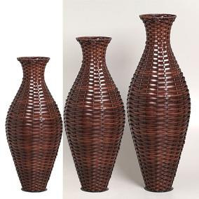 Vasos De Chão Trio Decorativos Junco Decorações Grd