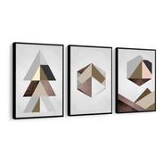 Quadro Decorativo Abstrato Marrom Geométrico Cinza Para Sala Quarto Recepção Escritório Decoração Criativa