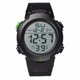 Reloj Digital Hombre Niños Sport Cronometro Negro Verde