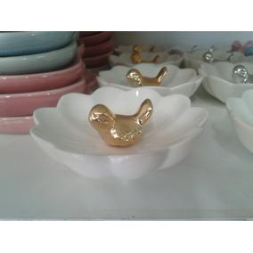 Porta Anel Flor Com Passarinho Dourado/prata Porcelana