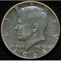 Moneda De Medio Dolar Plata 1964 Kennedy Grabado En Cuello