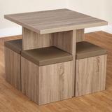 Mesa Comedor 80x80 Con 4 Banquetas - Ideal Monoambiente -