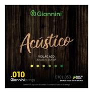Encordoamento Cordas Violão Aço 0.10 Giannini Acústico