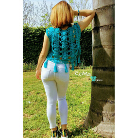 Blusa Remera Top Playa Tejido Crochet