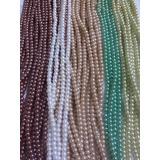 Perlas Blancas Y Colores De Vidrio Bisutería 4 Mm X Docena