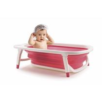 Banheira Portatil Dobravel Bebe Infantil Rosa