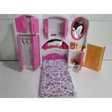 Kit Quarto Boneca Cama Armario Espelho Cabide Tipo Da Barbie