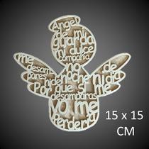 Figura Angel Letras Tipo Mdf, 20 Piezas, Bautizo, Comunion