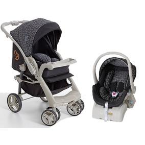 Carrinho Bebê Conforto E Base Optimus Preto Cinza Galzerano