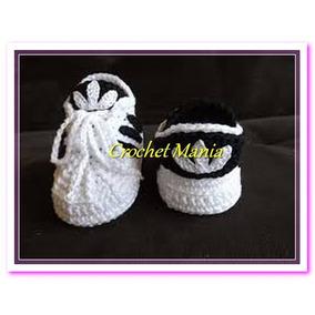 Zapatos Tejidos A Crochet Tipo Tenis Para Bebes