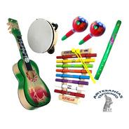 6 Pzas Artesania Mex, Kit Musical Guitarra, Xilofono, Pander