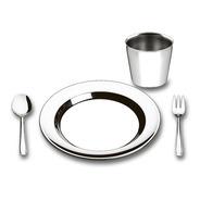 Prato Copo Talher Alimentação Infantil Aço Inox Brinox