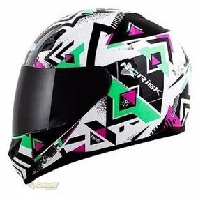 Capacete Motociclista Norisk Ff391 Fame Branco/verde/rosa