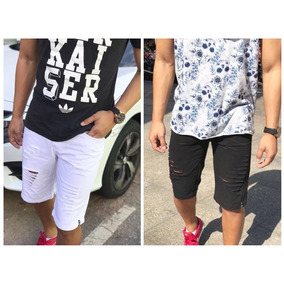 Kit 2 Shorts Bermuda Jeans Moda 2018 Masculino Destroyed Fg