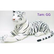 Tigre Branco Pelúcia Gigante Realista Presente Decoração