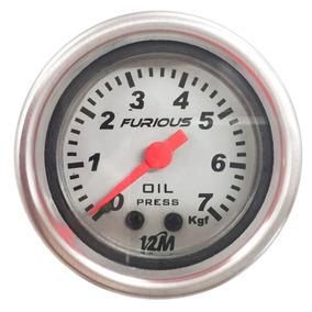 Manômetro 52mm Relogio Led Branco Tuning Pressão Do Oleo