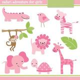 Kit Imprimible Animales Selva Safari Rosa Nena 4 Imagenes