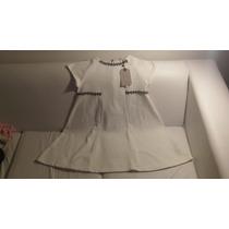 Vestido Zara Importado, Marfil Con Detalles Niña 12/14 Años