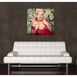 Cuadro Marilyn Monroe Color Vestido Rojo Mujer Sexy 45x45cm